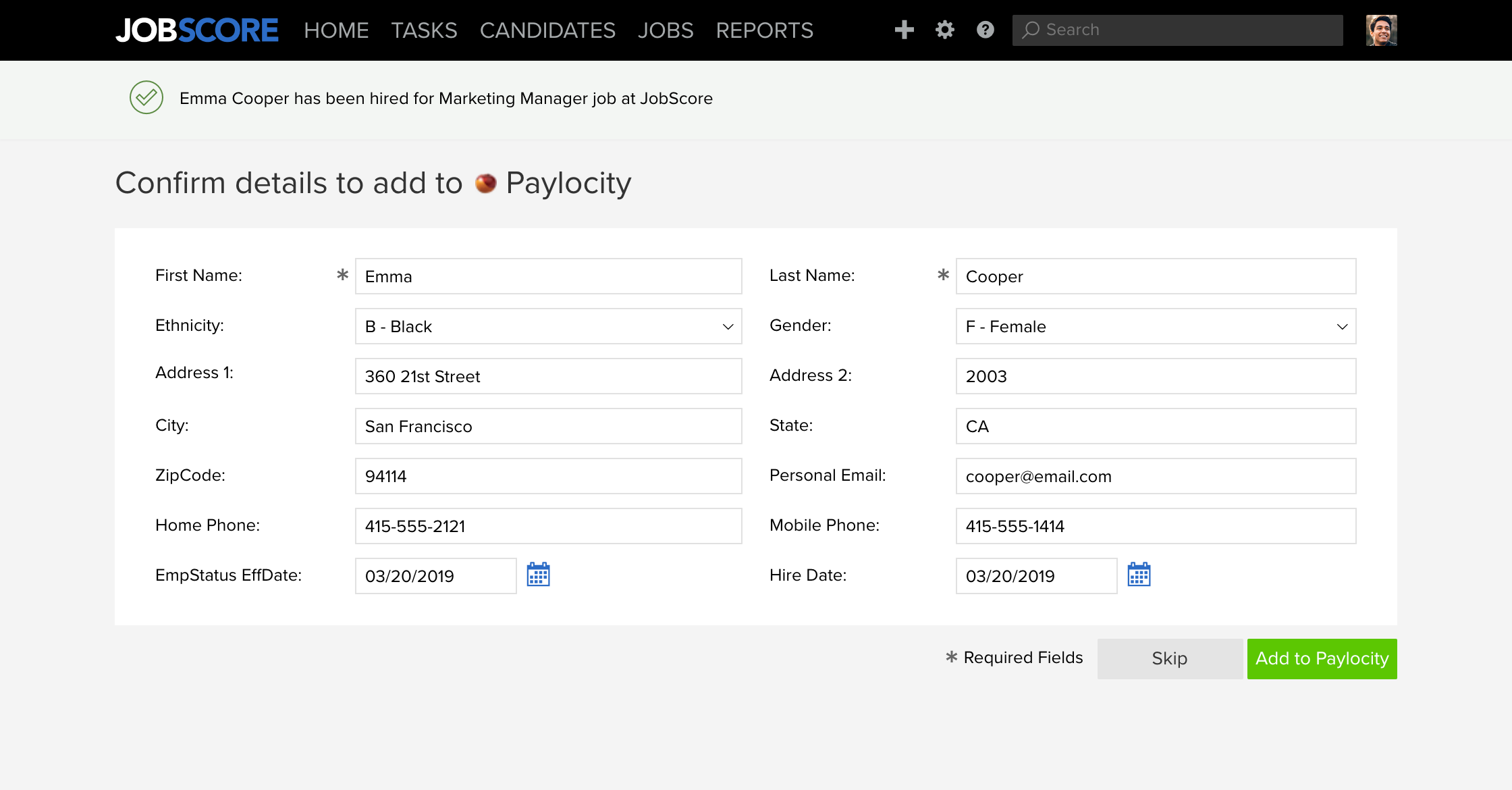 Confirm details to add to Paylocity page
